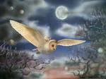 owl at dusk by gillyfrog