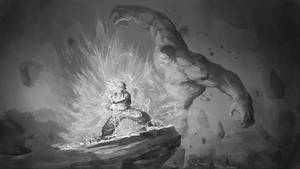 Son Goku vs Hulk by Shabow