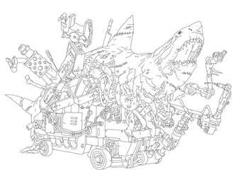 Robot Zombie Shark by PhillGonzo