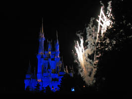 Blue Castle Wishes Fireworks by WDWParksGal-Stock