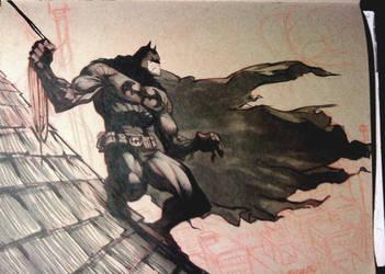 Batman Brown paper sketch by joverine
