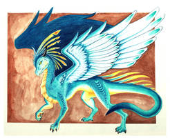 Blue Feathered Dragon by starwoodarts