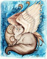 Azara Winged Cat Portrait by starwoodarts