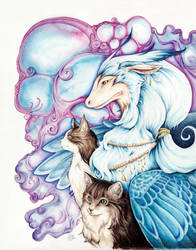 Tabby Cats and the Dragon by starwoodarts