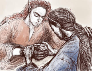 Maedhros and Fingon by Irsanna