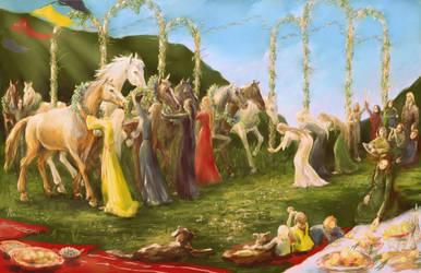 holiday of thanksgiving horses by Irsanna