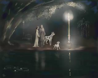night, old park, lantern, dogs by Irsanna