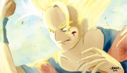 Goku against Majin. by Piteurock