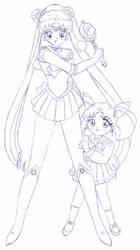 Moon AndChibiusa - Merry X-Mas by usagisailormoon20