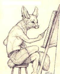 Fennec Artist by GrimVixen