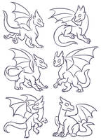 Free Dragon Poses by TheLeatherDragonI