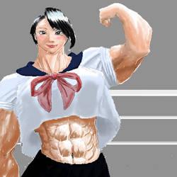 muscular school girl by shujisi