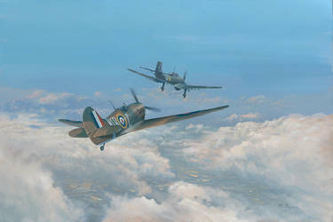 Spitfire and Stuka by Pictonart