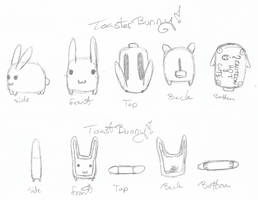 Toaster Bunny And Toast Bunny by SqueekyTheBalletRat