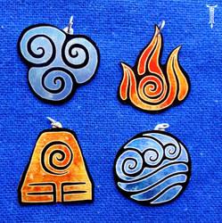 Avatar nations pendants by TrollGirl