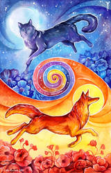 Sun Fox, Moon Cat by TrollGirl