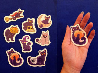 Halloween Cat Magnets by TrollGirl