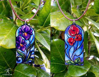 Stained Glass Flower Pendants by TrollGirl