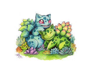 Pokemon Valentine - Succulent Bulbasaurs by TrollGirl