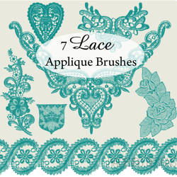 7 Lace Applique Photoshop Brushes by haciendodesigns