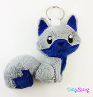 Silver and Midnight Blue Fox Plush Keychain by TheHarley