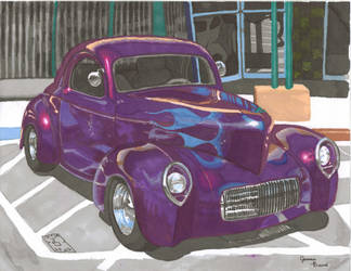 Purple 41 Ford Coupe in Prismacolor by eoshek