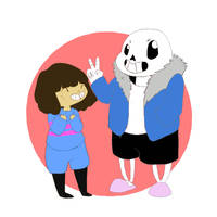 Frisk and Sans doodle by northernnurie
