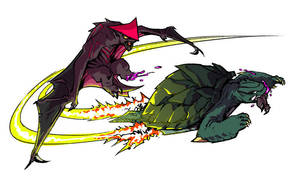 Gamera vs Gyaos! by mooncalfe