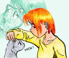 Girl and cat by yakumoSoul