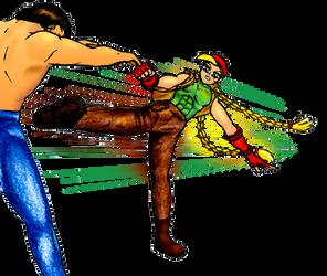 Midriff kick by yakumoSoul