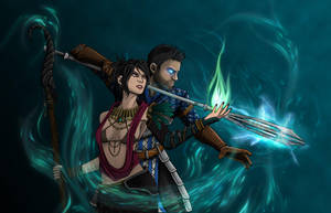 Amell and Morrigan by ptilou76
