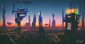 Retro futuristic city (SOLD) by HTECORE