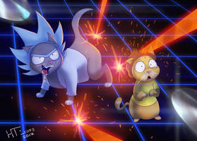 Rick and Morty, in the Danger Room, as cats by HTECORE