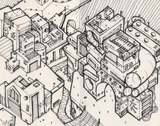 Atoms4D City Illustration #001 by owenprescott