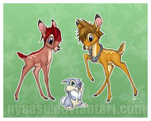Sora Kairi and Riku: Bambi'd by Nyaasu