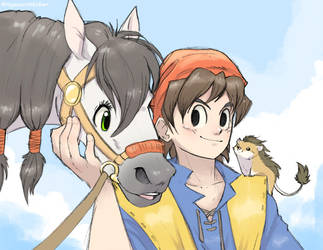 Hero, Medea, and Munchie (Dragon Quest VIII) by Nyaasu