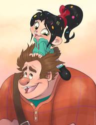 Ralph and Vanellope! by Nyaasu