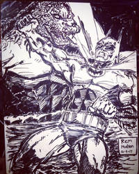 Killer Croc vs Batman by MisterHydesSon