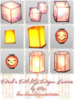 Pack 9 PNGs Paper Lantern by Kou-Desu