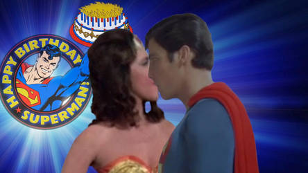 Wonder Woman Gives Superman A Birthday Kiss by RoyPrince