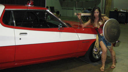 Wonder Woman And The Starsky And Hutch Car by RoyPrince
