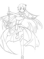 Asuna Lineart sword art online by vaghot