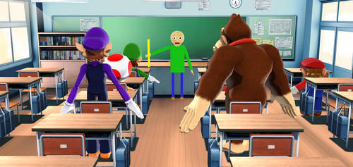 Mario and co in Baldi's class by SuperSmashCynderLum