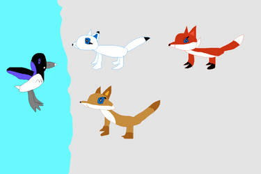 foxes and a Grebe by SuperSmashCynderLum