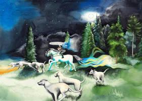 Orome hunting beasts by SarkaSkorpikova