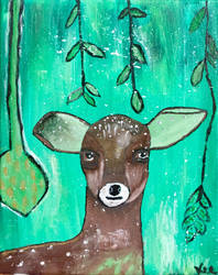 The deer (acrylic) by Gauthiervee