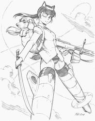 Strike Witches Mio and Co-pilot by Inkermoy