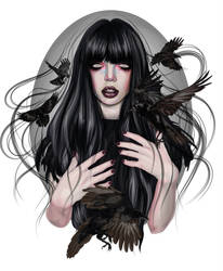 Raven Girl - Vector illustration by 8LouLou8