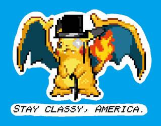 Tophat Pikachu Charizard by blayzeon