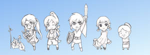Wind Waker Chibis (Lineart) by ColeyCannoli